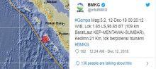 Dini Hari Tadi, Gempa Berkekuatan 5,2 SR Guncang Mentawai